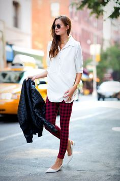 Danielle Bernstein adds colour with patterned pants