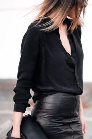 I love the contrast of the smoothness of the leather skirt alongside the roughness of the linen shirt