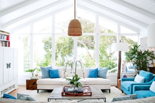 Add splashes of relaxing colours and let as much natural light in as possible. Natural light instantly lifts the mood of any room.
