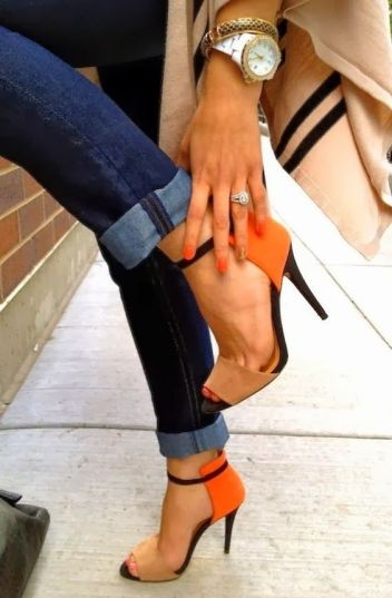 use your summer heels to add a bit of colour to a usually drab winter